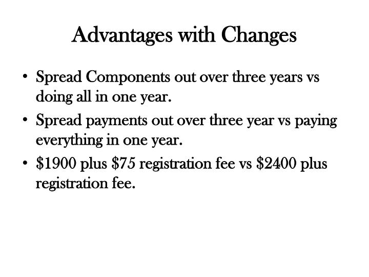 Advantages with Changes