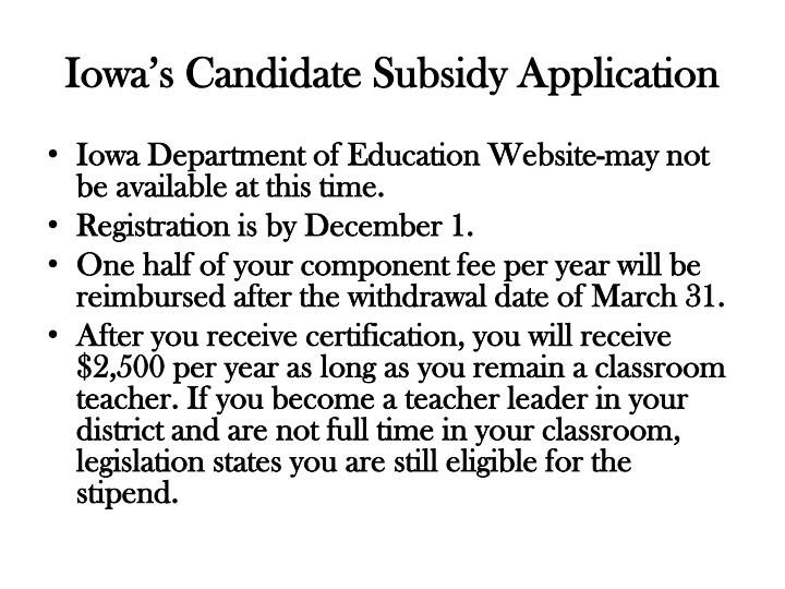 Iowa's Candidate Subsidy Application