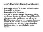 iowa s candidate subsidy application