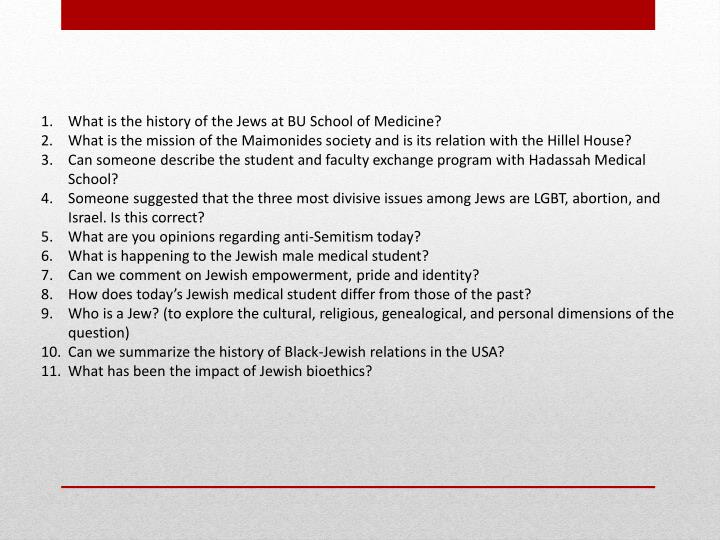 What is the history of the Jews at BU School of Medicine?