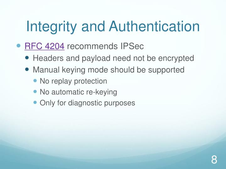 Integrity and Authentication