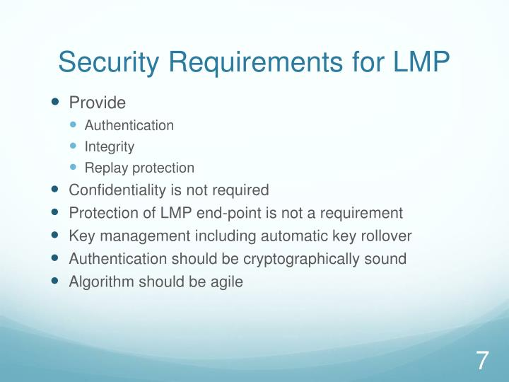 Security Requirements for LMP