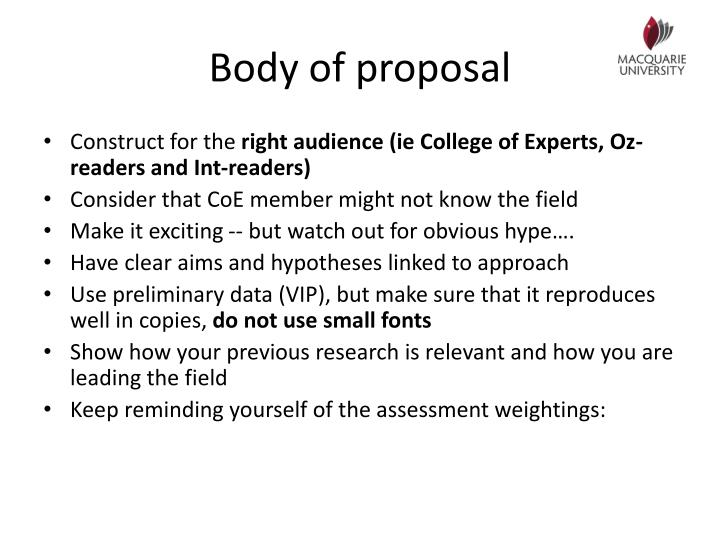 Body of proposal