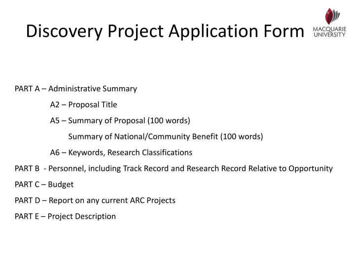 Discovery Project Application Form