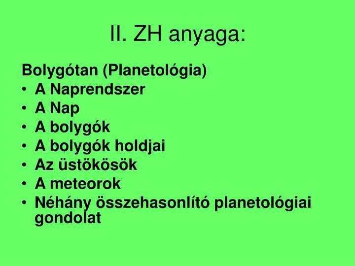 II. ZH anyaga: