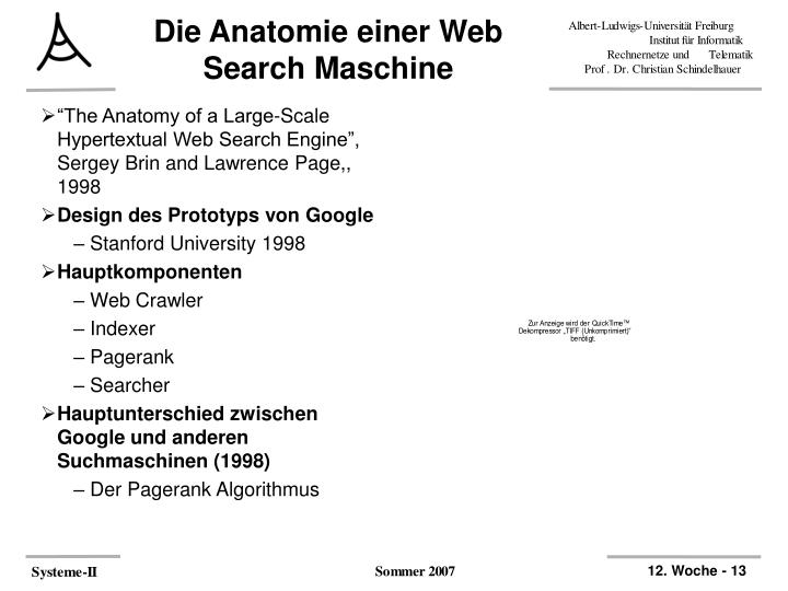 Die Anatomie einer Web Search Maschine