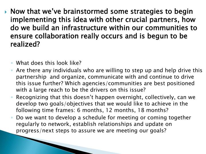 Now that we've brainstormed some strategies to begin implementing this idea with other crucial partners, how do we build an infrastructure within our communities to ensure collaboration really occurs and is begun to be realized?