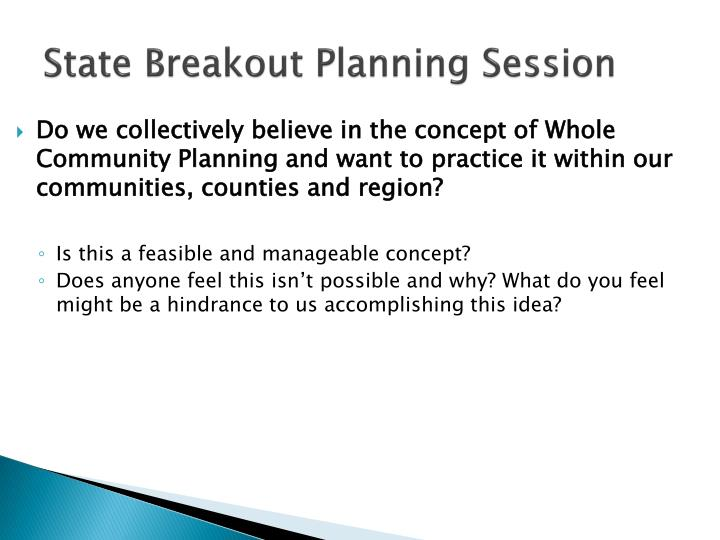 state breakout planning session
