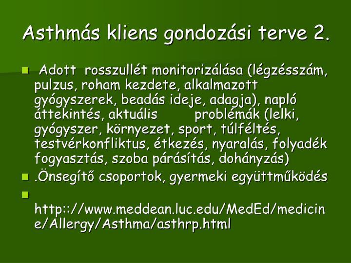 Asthmás kliens gondozási terve 2.