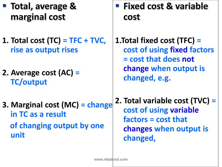 Total, average & marginal cost
