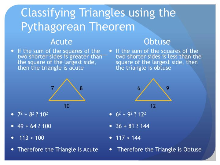 Classifying Triangles using the