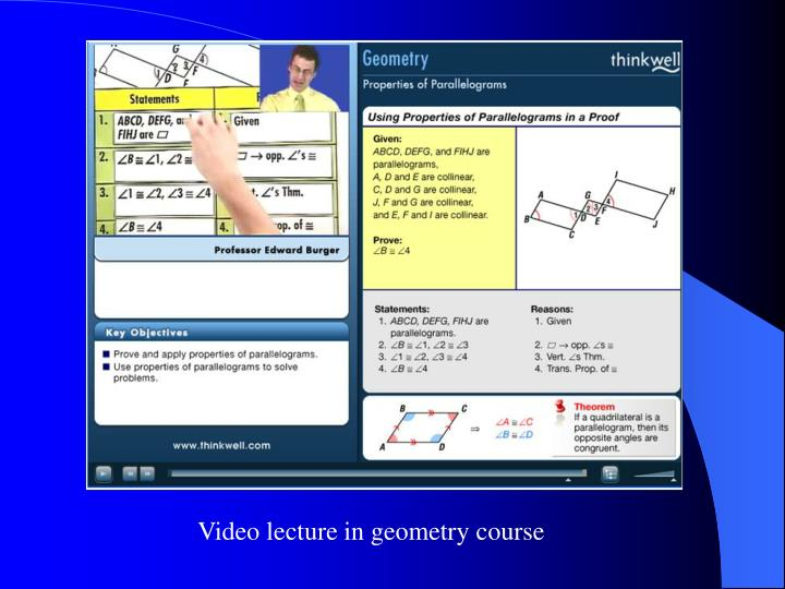Video lecture in geometry