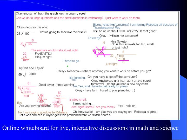 Online whiteboard for live, interactive discussions in math and science