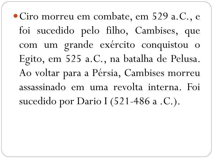 Ciro morreu em combate, em 529 a.C., e foi sucedido pelo filho, Cambises, que com um grande exército conquistou o Egito, em 525 a.C., na batalha de Pelusa. Ao voltar para a Pérsia, Cambises morreu assassinado em uma revolta interna. Foi sucedido por Dario I (521-486 a .C.).