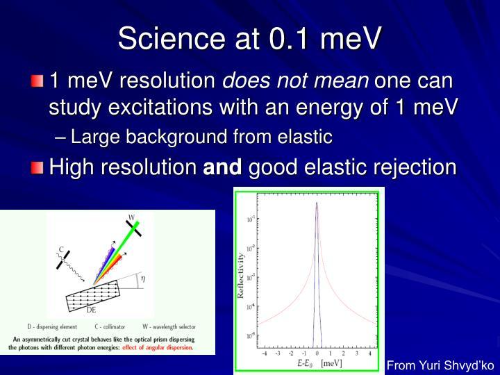 Science at 0.1 meV