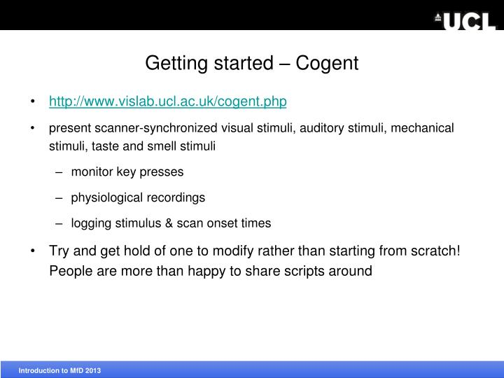 Getting started – Cogent