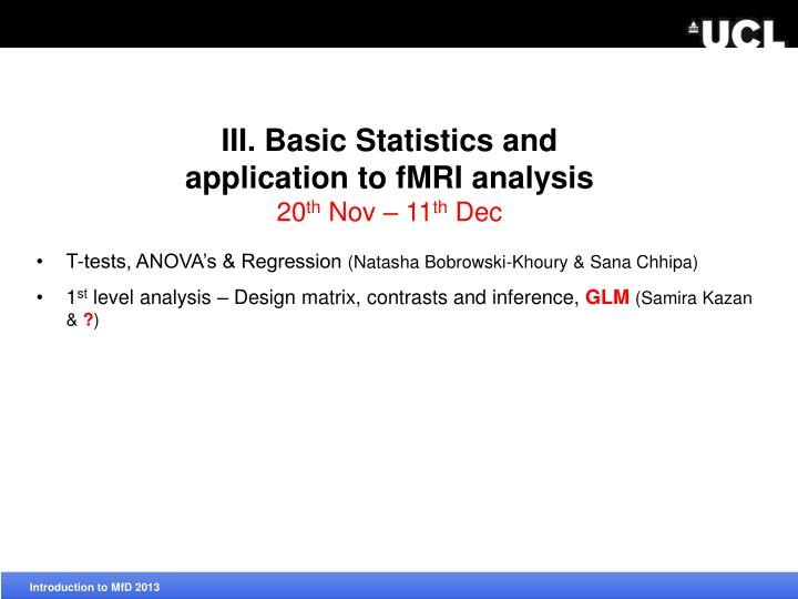 III. Basic Statistics and