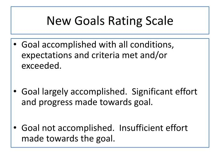 New Goals Rating Scale