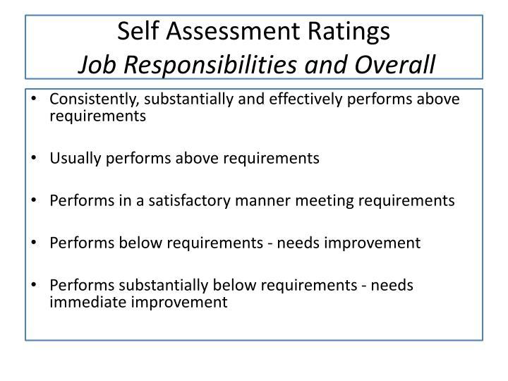 Self Assessment Ratings