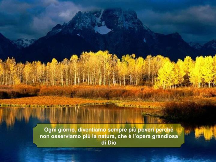 Ogni giorno, diventiamo sempre più poveri perchè non osserviamo più la natura, che è l'opera grandiosa di Dio