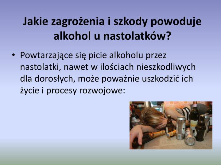 Jakie zagrożenia iszkody powoduje alkohol unastolatków?