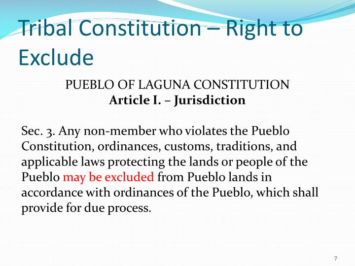 Tribal Constitution – Right to Exclude