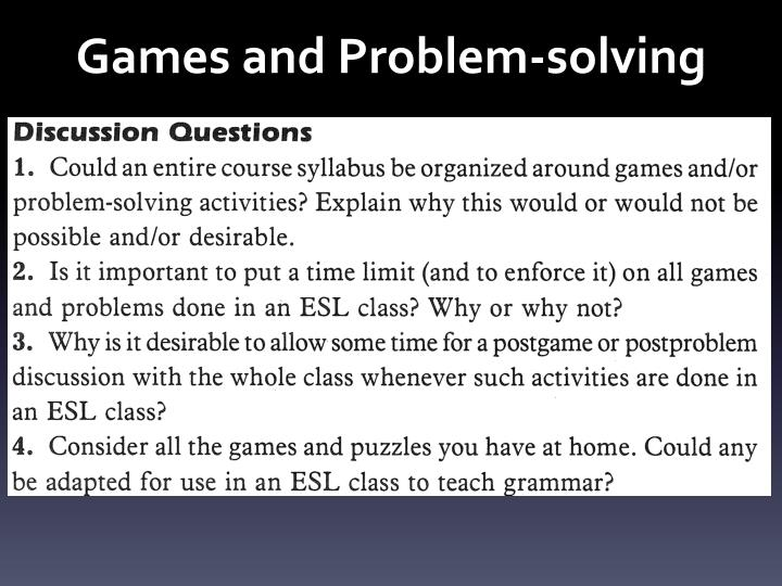 Games and Problem-solving