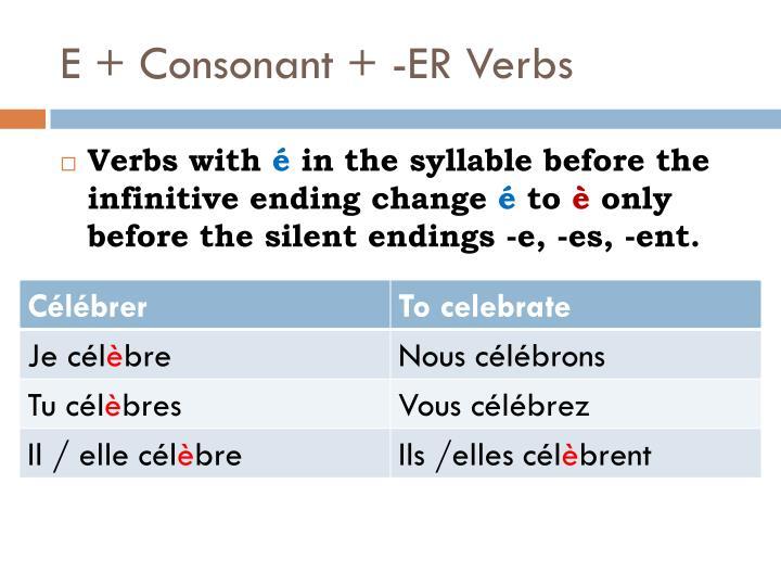 E + Consonant + -ER Verbs
