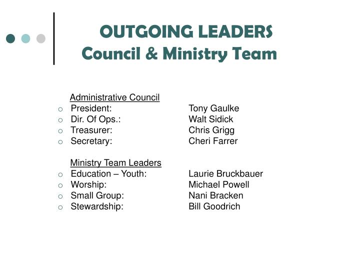 OUTGOING LEADERS