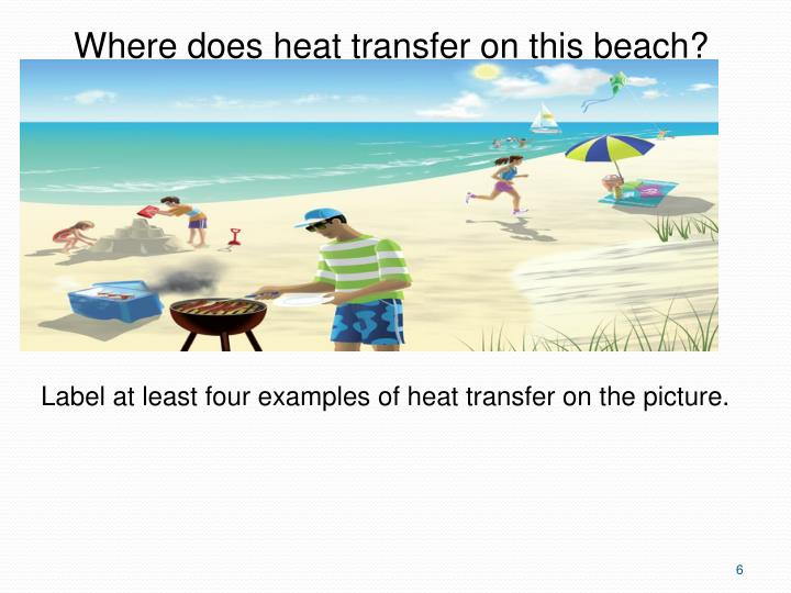 Where does heat transfer on this beach?