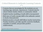 critical elements to authentic learning contexts