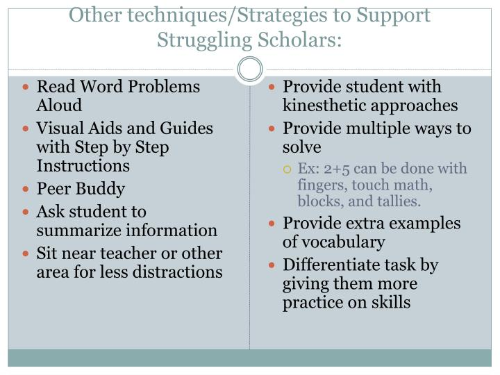Other techniques/Strategies to Support Struggling Scholars: