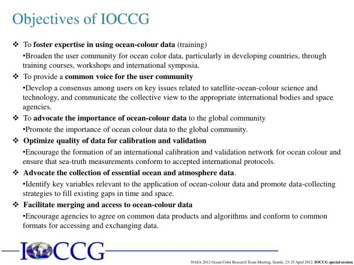 Objectives of IOCCG