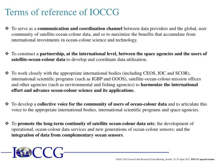 Terms of reference of IOCCG