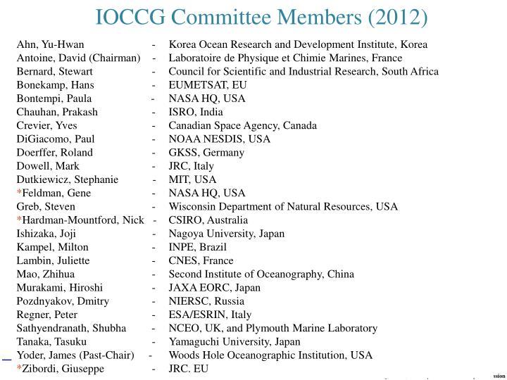 IOCCG Committee Members (2012)