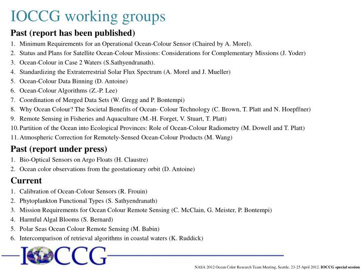 IOCCG working groups