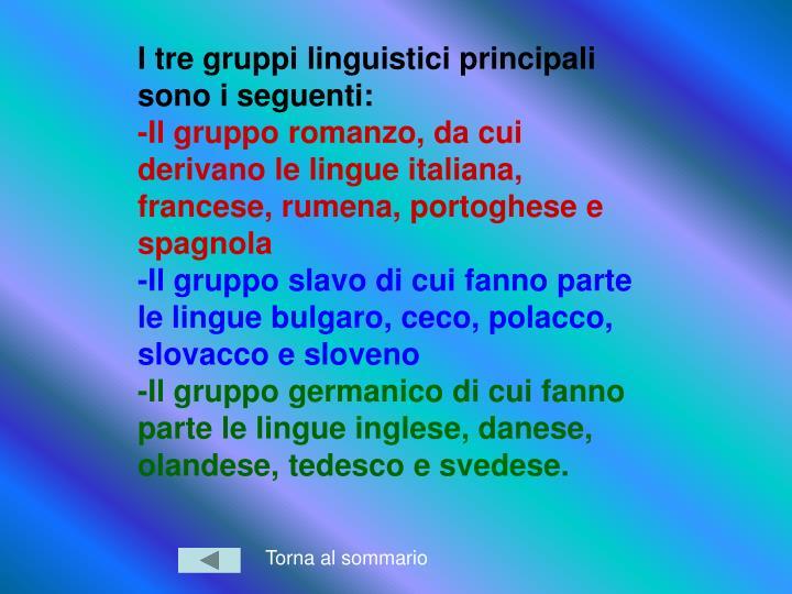 I tre gruppi linguistici principali sono i seguenti: