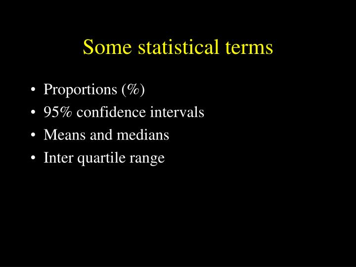 Some statistical terms