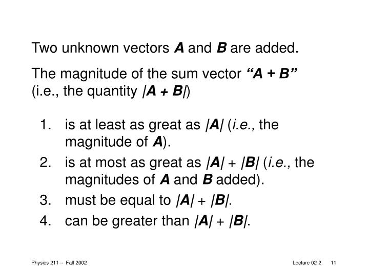 Two unknown vectors