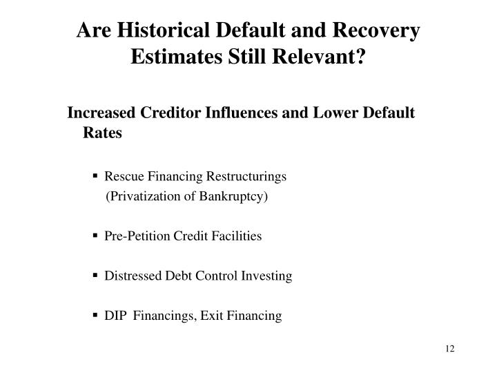 Are Historical Default and Recovery Estimates Still Relevant?