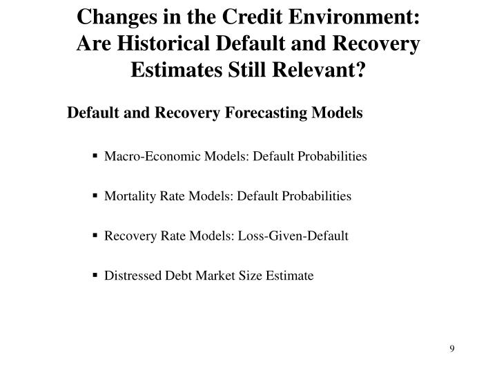 Changes in the Credit Environment: