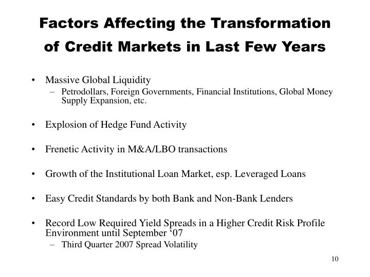 Factors Affecting the Transformation of Credit Markets in Last Few Years