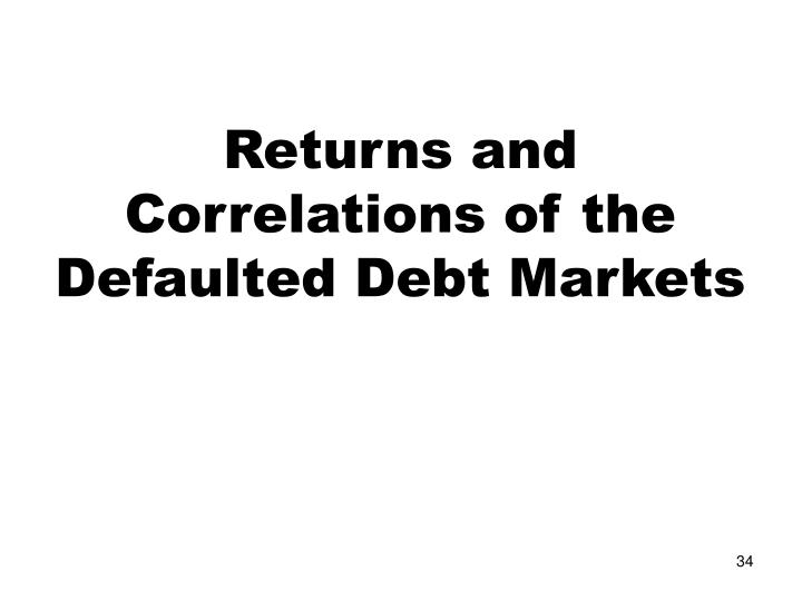 Returns and Correlations of the Defaulted Debt Markets