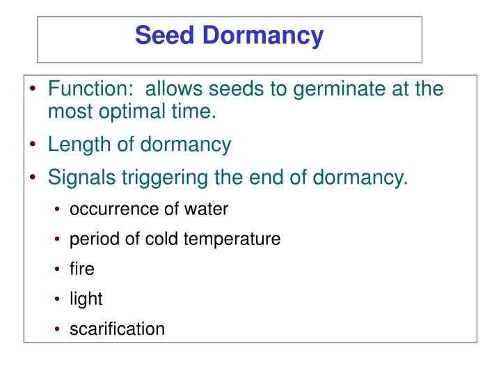Function:  allows seeds to germinate at the most optimal time.