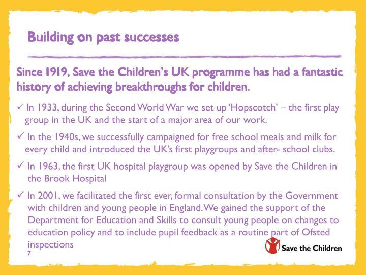 Building on past successes