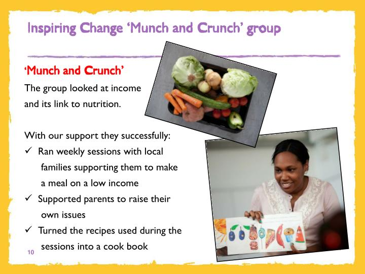 Inspiring Change 'Munch and Crunch' group