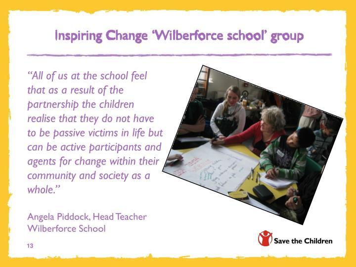 Inspiring Change 'Wilberforce school' group
