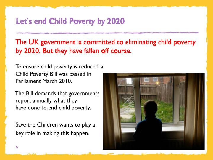 Let's end Child Poverty by 2020