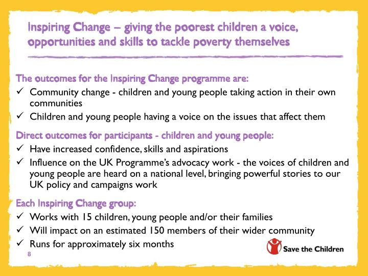 Inspiring Change – giving the poorest children a voice, opportunities and skills to tackle poverty themselves