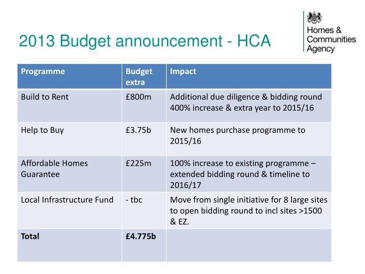 2013 Budget announcement -